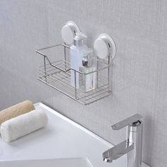 Free Shipping Kitchen Suction Stainless Steel Storage Rack High Quality Bathroom…