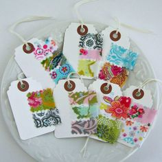 Fabric Scrap Gift Tags Sewn Fabric Tags  Small by tracyBdesigns, $5.00