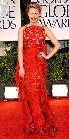 Glee actress, Dianna Agron ~ Golden Globes 2012 ~ wearing a fiery red tiered gown with laser~cut swan embellishments.   Loved it!