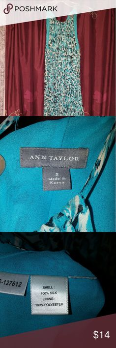 Ann Taylor silk dress Blue black and white leopard print silk dress. Little staining around the straps. Ann Taylor Dresses Midi