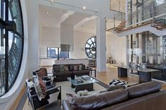 Old clock tower that has been converted into a penthouse apartment.