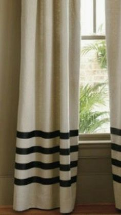 add grosgrain ribbon to make stripes on DIY drop cloth curtains. add grosgrain ribbon to make stripes on DIY drop cloth curtains. Plain Curtains, Drop Cloth Curtains, Striped Curtains, Linen Curtains, Drapery, Luxury Curtains, Short Curtains, Curtains Living, Cafe Curtains