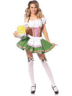 Get ready to sling some beers this Oktoberfest while dressed in the Bavarian Maiden Beer Girl Gretchen Adult Costume.