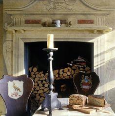 Renaissance Mural, Trompe l'oeil fire place, Kitchen, London by Timna Woollard Studio