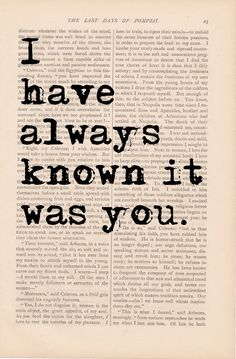 I Have Always Known It Was YOU print - vintage art book page print - love quote print. Etsy.com