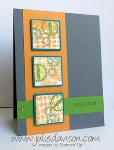 Julie's Stamping Spot -- Stampin' Up! Project Ideas Posted Daily: Stamp of the Month Club: Clockworks Scrapbook Cards, Scrapbooking, Square Card, Masculine Cards, Stamp Collecting, Stamping Up, Diy Cards, Stampin Up Cards, Thank You Cards