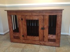 Wooden dog crate with metal bars by Cre8tivefurniture on Etsy, $275.00