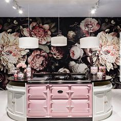 Dark Floral II Black Saturated - Floral Wallpaper - by Ellie Cashman Design. love this desk set up as a check in counter and lamps above Bathroom Wallpaper, Of Wallpaper, Custom Wallpaper, Ellie Cashman Wallpaper, Black Floral Wallpaper, Interior Paint, Interior Design, Kitchen Set Up, Accent Wall Bedroom