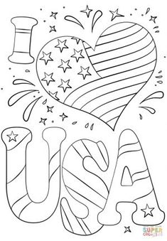 i love usa july coloring pages printable and coloring book to print for free. Find more coloring pages online for kids and adults of i love usa july coloring pages to print. Summer Coloring Pages, Love Coloring Pages, School Coloring Pages, Free Printable Coloring Pages, Coloring Pages For Kids, Free Coloring, Coloring Books, Adult Coloring, Fairy Coloring