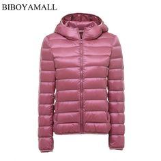 Better Deal $19.74, Buy BIBOYAMALL Women Ultra Light Down Jacket Hooded 90% Winter Duck Down Jackets Women Parka Zipper Coats Plus Size XXXL Pink Black