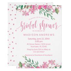 #invitations #wedding #bridalshower - #Pink Watercolor Floral Bridal Shower Invitation