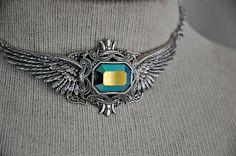 Victorian Gothic Choker Necklace Swarovski CrystalWingsSteampunk