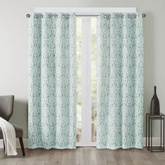 Madison Park Texture Damask Printed Curtain Panel with Blackout Lining