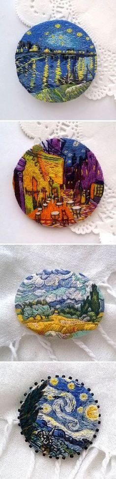 Embroidered Brooches with Van Gogh's paintings | Вышитые броши по мотивам картин Винсента Ван Гога — Купить, заказать, брошь, вышивка, вышитый, вышивание, Ван Гог, ручная работа, звездная ночь