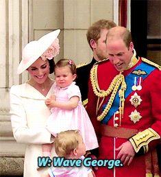 Prince George waves.                                                                                                                                                      More