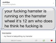 I can relate. We had six gerbils. Those bastards really liked to stay in shape.