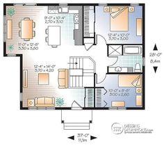Plan de Rez-de-chaussée Modèle idéal pour première maison, de style champêtre…