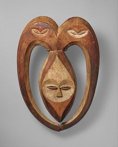 """Beete Mask ~ Kwele People, Congo  region. """"Known as """"ekuk"""" or """"things of the forest"""" this genre of mask act as intermediaries between the forest and the village. Additionally, the gentle curving horns of the """"bata"""" mask are understood to be a metaphor for the cosmic unification of those two realms."""""""