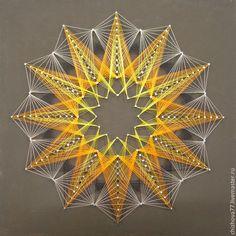 """Абстракция ручной работы. Ярмарка Мастеров - ручная работа. Купить картина """"Солнце"""" в технике String art. Handmade. Стрингарт, краска"""