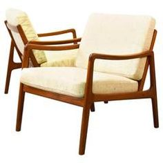 Pair of Ole Wanscher Teak Easy Chairs