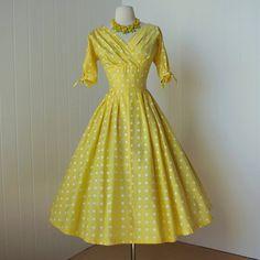 1950's Polka Dot Surplice Dress