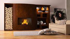 cheminée design avec rangement bois et étagèes en acier corten par Elleci