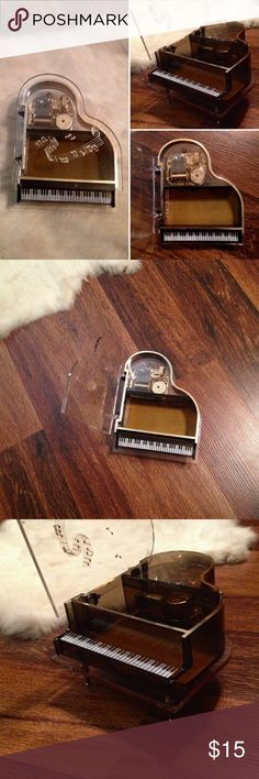 """Vintage Piano Jewelry Music 🎶 Box Refer to pictures for description. In good vintage condition. Minor marks or scratches. Sits up on 3 Gold legs. They screw in. A bit loose. Not sure how to make them tighten. I was going to glue them. I'll leave that up to The purchaser. I can't remember the song that plays. But music box does work. Stands about 3"""" Tall. 5"""" across. Please ask any questions before purchasing. Thanks Vintage Other"""
