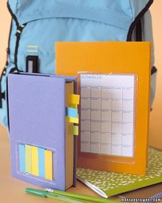 Plastic Pocket  Everyone can use an extra pocket. Stuck to the front of a book, these keep a class schedule in plain view. Look for self-adhesive plastic business-card holders or schedule holders in o