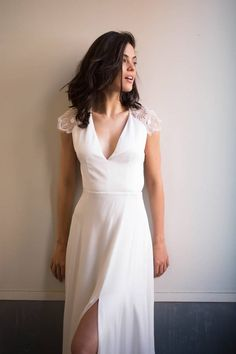 Alexandra Grecco Arlington Gown, chic wedding dress, lace cap sleeved wedding dress, side slit wedding dress, v-neck wedding dress, open back wedding dress, back detail wedding dress