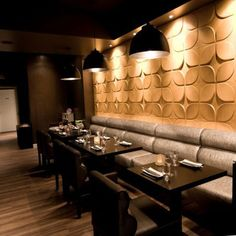 Sushibar The Netherlands - Amsterdam, using Sweeps pattern of 3D wall tile from www.mywallart.com