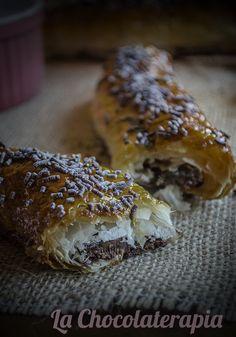 Recetas con chocolate Nutella, Flautas, Bread, Food, Deserts, Recipes, Flaky Pastry, Cooking, Brot