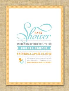 Printable Invitation  Mod Baby Shower Yellow by sophisticatesuite, $10.00