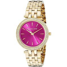 Michael Kors Women's MK3444 Mini Darci Diamond Pink Dial Gold-Tone... ($213) ❤ liked on Polyvore featuring jewelry, watches, pink, watch bracelet, stainless steel watches, bracelet watch, analog watches and diamond bezel watches