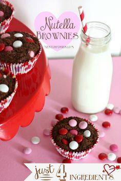 Valentine Nutella Brownies with only 4 ingredients! @nestofposies