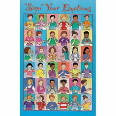 "Large 24"" x 37"" poster. It features bright illustrations of 36 feelings and how to express them in American Sign Language. Emotions include: angry, embarrassed, mean, worried, and many more."
