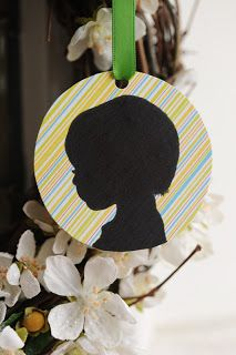 12 Days of DIY Christmas Ornaments - Day 12: Silhouettes 3 Ways All you need is a photo that you can create a silhouette of your child from, black card stock and colored/patterned cardstock, hole punch, and ribbon.