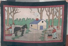 Hooked Rug created by Emma L. Lear, 1950s, Port de Grave, Newfoundland.