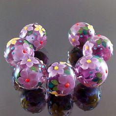 PIKALDA=handmade lampwork 7 glass beads flower blossom garden=FASCINATION=SRA