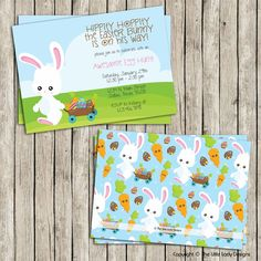 Bunny Wagon Scene Easter Invitation - Instant Download! by tlittleladydesigns, $8.00 USD