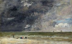 Eugene Boudin - Beach at Trouville [probably 1890s] | Flickr - Photo Sharing!