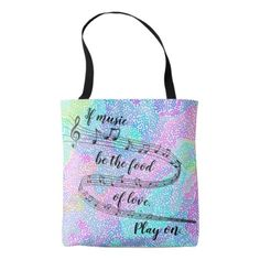 """If music be the food of love"" -Shakespeare Tote Bag - diy cyo customize personalize design"
