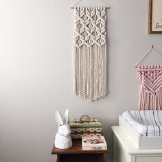 Sweet nursery vibes. Macrame wall hanging available now. ✨