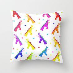 Pattern Unicorn Heads Throw Pillow