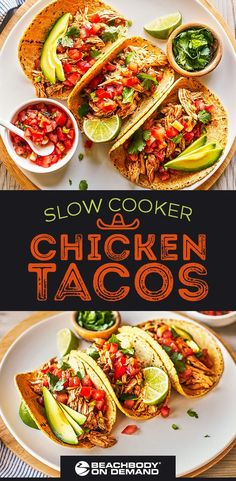 Slow Cooker Chicken Tacos Bring the flavor of your favorite Mexican. - Slow Cooker Chicken Tacos Bring the flavor of your favorite Mexican restaurant home wi - Crock Pot Recipes, Healthy Taco Recipes, Chicken Taco Recipes, Healthy Tacos, Slow Cooker Recipes, Mexican Food Recipes, Cooking Recipes, Recipe Chicken, Crockpot Meals