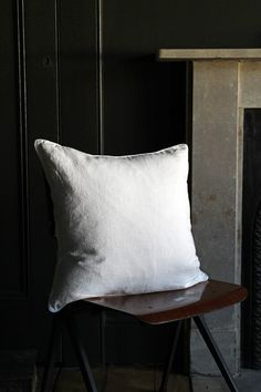 Lisbon Soft Linen Cushion - White from Rockett St George