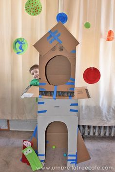 Build a cardboard rocket ship and then explore space with your kids. I'm so excited to share this cardboard rocket ship fort we made for the Fort Building Challenge.