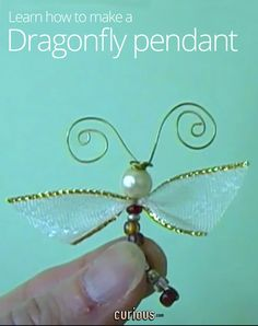 Design a lovely beaded dragonfly pendant! The head and body are made from beads and wire, and wings can be made of anything from ribbon to recycled plastic!