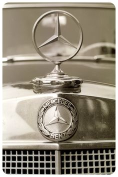 Vintage vehicle decor mercedes car vehicle sepia symbol wealth german status symbol high fashion Mad Men Emblems fine art photograph. $25.00, via Etsy.