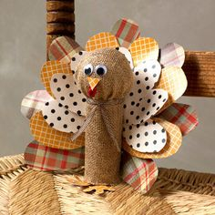 Burlap Toilet Roll Turkey | AllFreeKidsCrafts.com