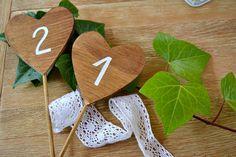5 Wooden Number Table Heart . Wooden Heart Wedding by handANAhada